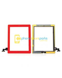 Apple iPad 2 touch screen with home button assembly and adhesive tape attached Red - AU Stock
