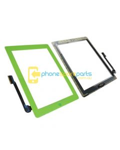 Apple iPad 3 / 4 touch screen with home button assembly and adhesive tape attached Green - AU Stock