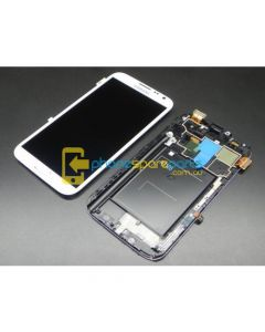 Galaxy Note 2 N7100 LCD and touch screen assembly with frame White - AU Stock