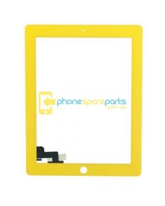 Apple iPad 2 Replacement Touch Screen glass with adhesive and home button Yellow