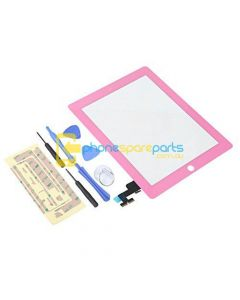 Apple iPad 2 touch screen with home button assembly and adhesive tape attached Pink - AU Stock