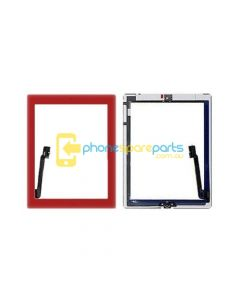 Apple iPad 3 touch screen with home button assembly and adhesive tape attached Red - AU Stock