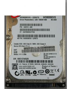 Acer Travelmate 3260 UMASC HDD WD 2.5 5400RPM 80GB WD800BEVS-22RST0 ML80 SATA LF F/W:04.01G04 KH.08008.033