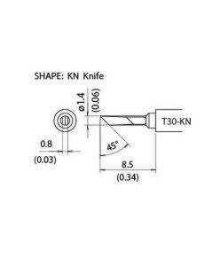 T30 Series tips fit Hakko FM-2032 Soldering Iron (T30-KN / Tiny Knife Tip)